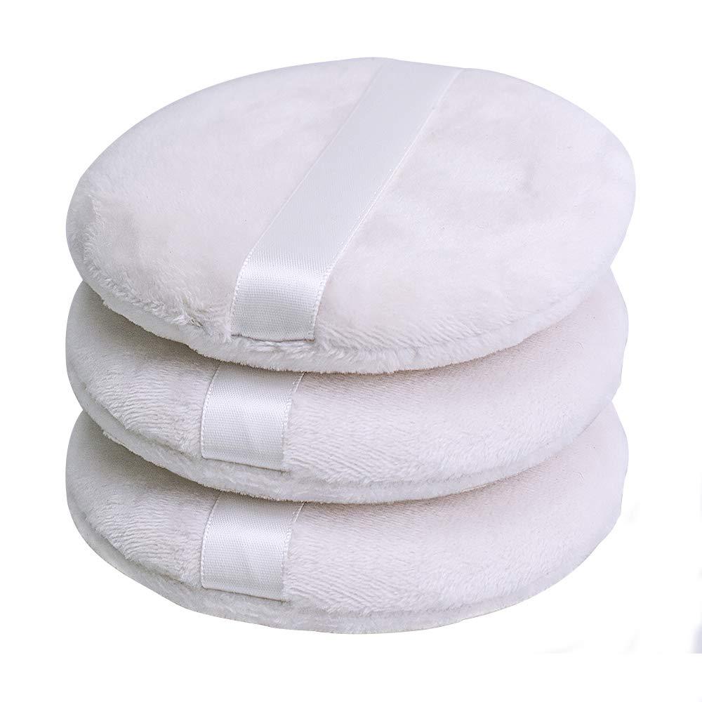 Topwon 4 Inch Powder Puff,Washable Large Body Puff,Soft & Furry - 3Pcs
