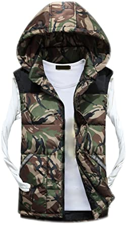 ee28c6c9a Fuxiang Mens Gilet Sleeveless Hooded Body Warmers Padded Down Vest with  Zipper Hood Men Printed Camouflage Jacket Coat Gilets with Pockets Stand ...