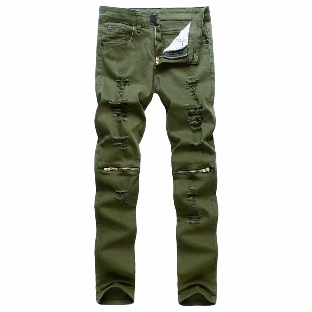 Mens Casual Skinny Tear Hole Trousers,Realdo Slim Solid Cotton Denim Stretchy Ripped Jeans(Green,34)