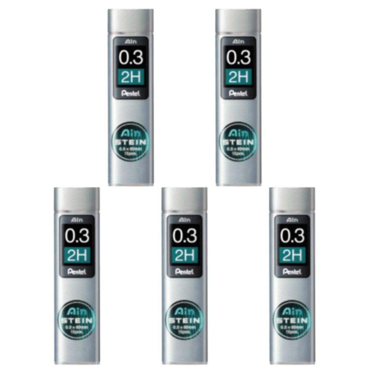 Pentel Ain Mechanical Pencil Leads 0.3mm 2H, 5 Pack/total 75 Leads Value Set