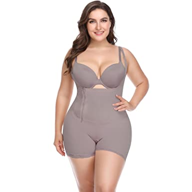 d0762b91f6 Image Unavailable. Image not available for. Color  Women s Butt Lifter  Spandex Open Bust Full Body Shaper Plus Size Bodysuit Shapewear ...