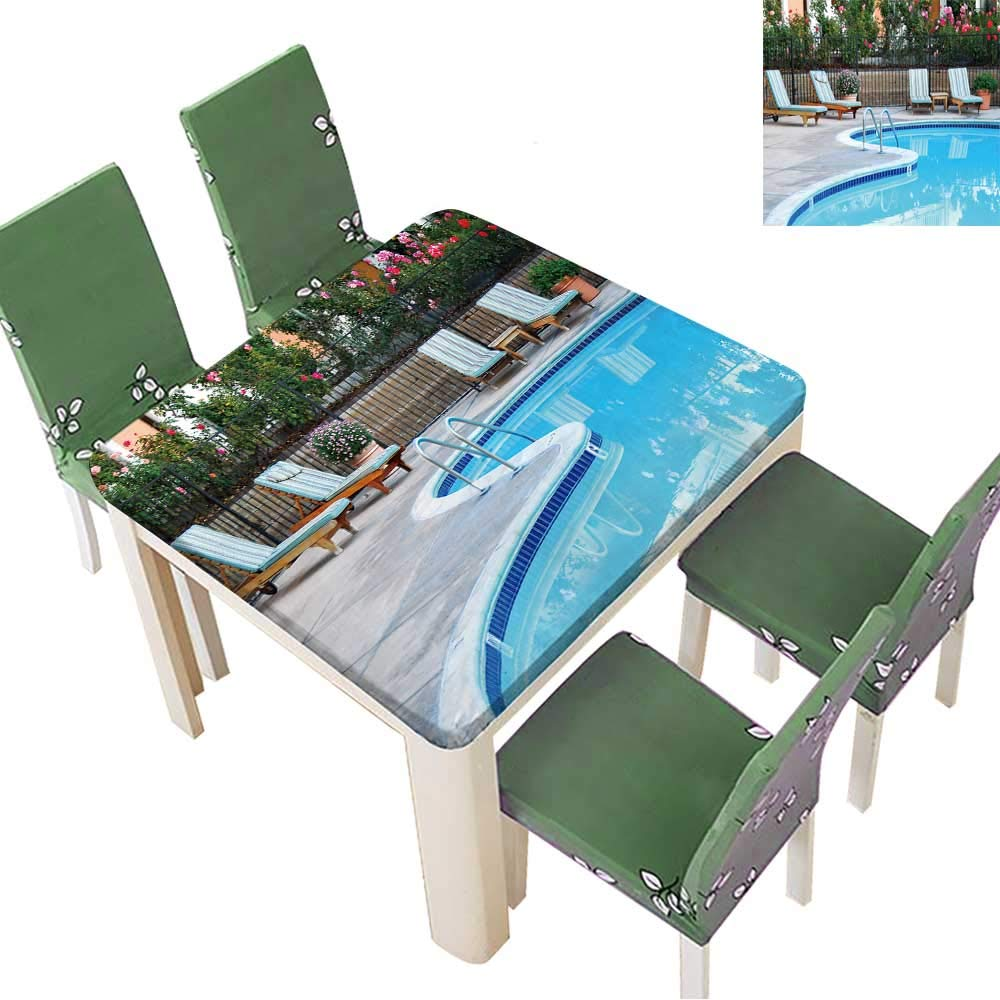 Printsonne Polyester Cloth Fabric Cover Beautiful Swimming Pool Surrounded by Chairs and Flowers Tablecloths for Kitchen Room 23 x 23 Inch (Elastic Edge)