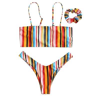7dfa96ad5a Amazon.com  ZAFUL Cami Bikini Set for Women Striped Briefs Bra High Leg  Rainbow Print Headband Padded Spaghetti Straps Swimwear Swimsuit  Clothing