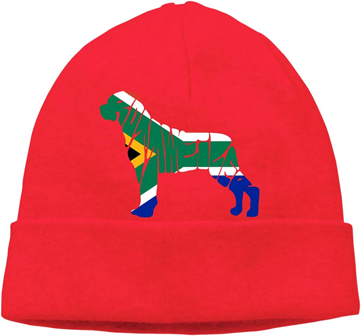 BF5Y3z/&MA South African Flag Rottweiler Dog Beanie Hat for Men Women,Thick Knitting Hat Skull Cap