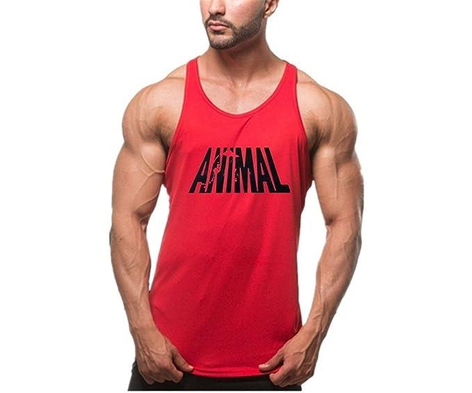 YeeHoo Hombre Animal Camisetas Deportivo sin Mangas Gimnasio Fitness Tank Top Chaleco De Tirantes M-