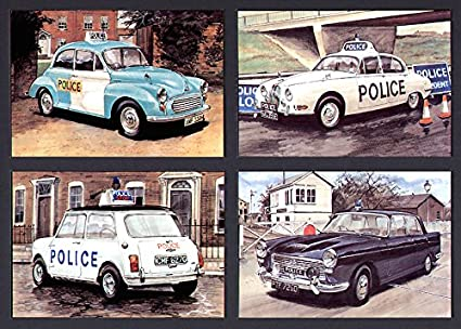 British Police Cars of the 1960s - A Set of 4 Postcards