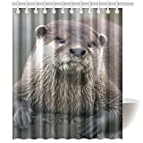 CTIGERS Animal Shower Curtain for Kids Cute Otter on the Wood Polyester Fabric Bathroom Decoration 60 x 72 Inch