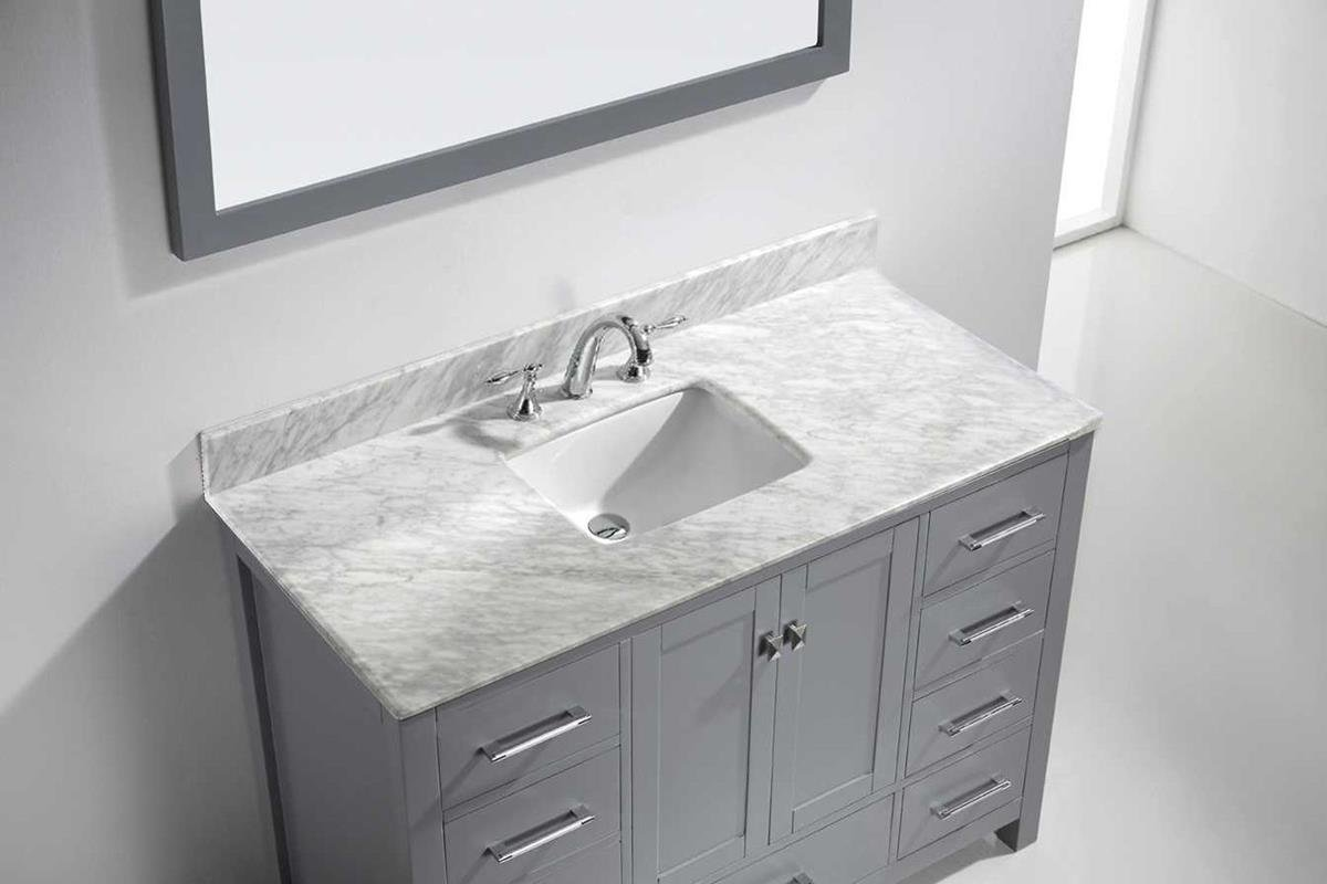 Virtu USA GS-50048-WMSQ-GR Caroline Avenue 48 inch single Bathroom Vanity Set In Grey by Virtu USA