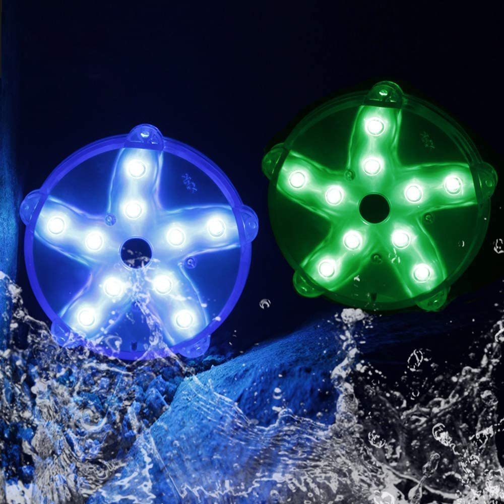 """Blufree 3.3"""" LED Floating Pool Lights for Bathtub Fountain Hot Tub, IP68 Waterproof Color Changing Pond Light Magnetic LED Lights Decor Home Party Vase Wedding Christmas Halloween Starfish Lamp(2 pcs)"""