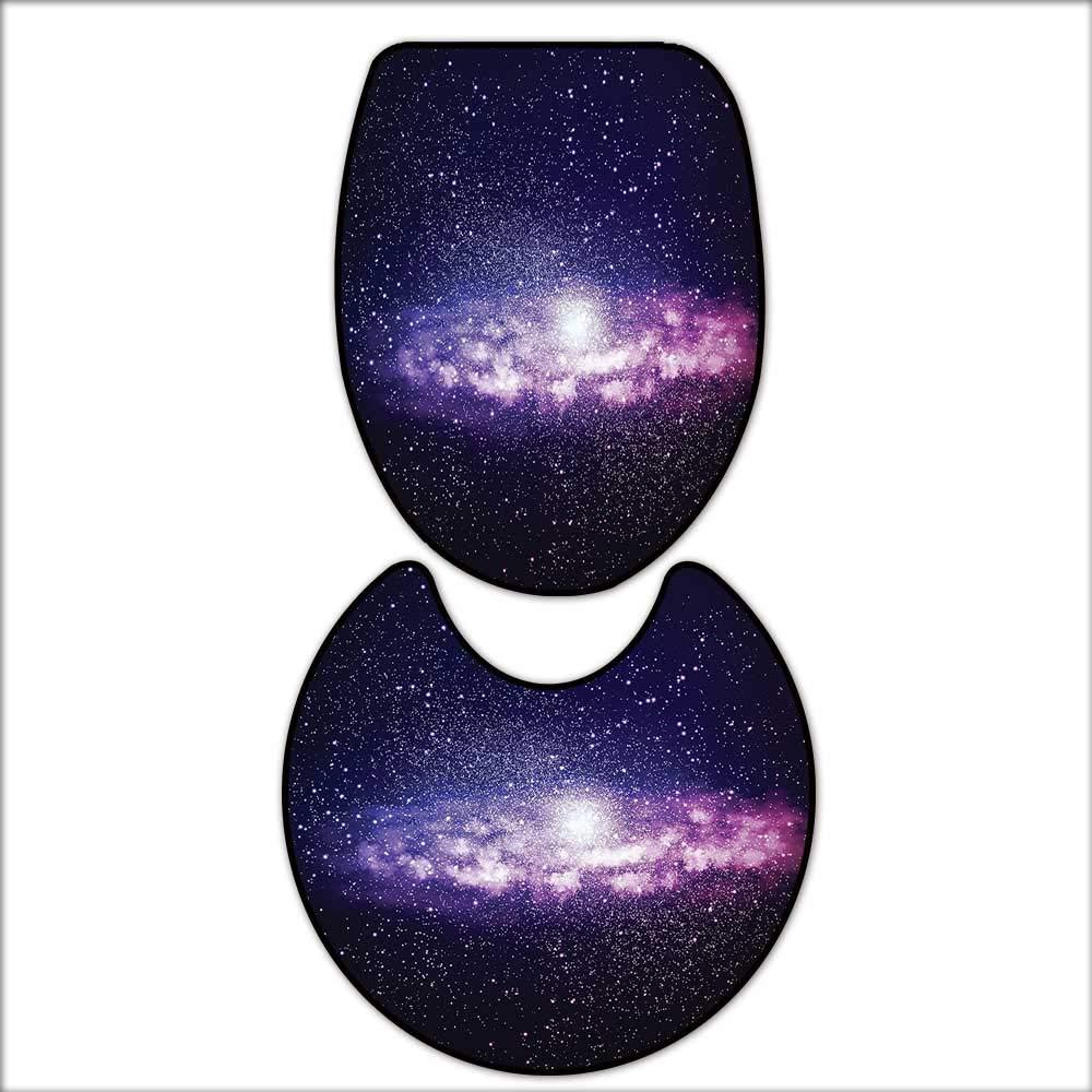 qianhehome 2 Piece Bathroom Mat Set Alluring Nebula Cloud in Milky Way Infinity in Interstellar Solar Explosion Design Purple Dark Blue. Soft Shaggy Non Slip 14''x16''-D20