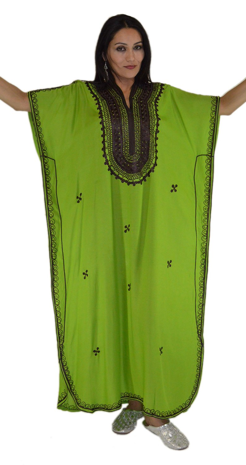 Moroccan Caftan Hand Made Top Quality Breathable Cotton with Brown Hand Embroidery Long Length Green