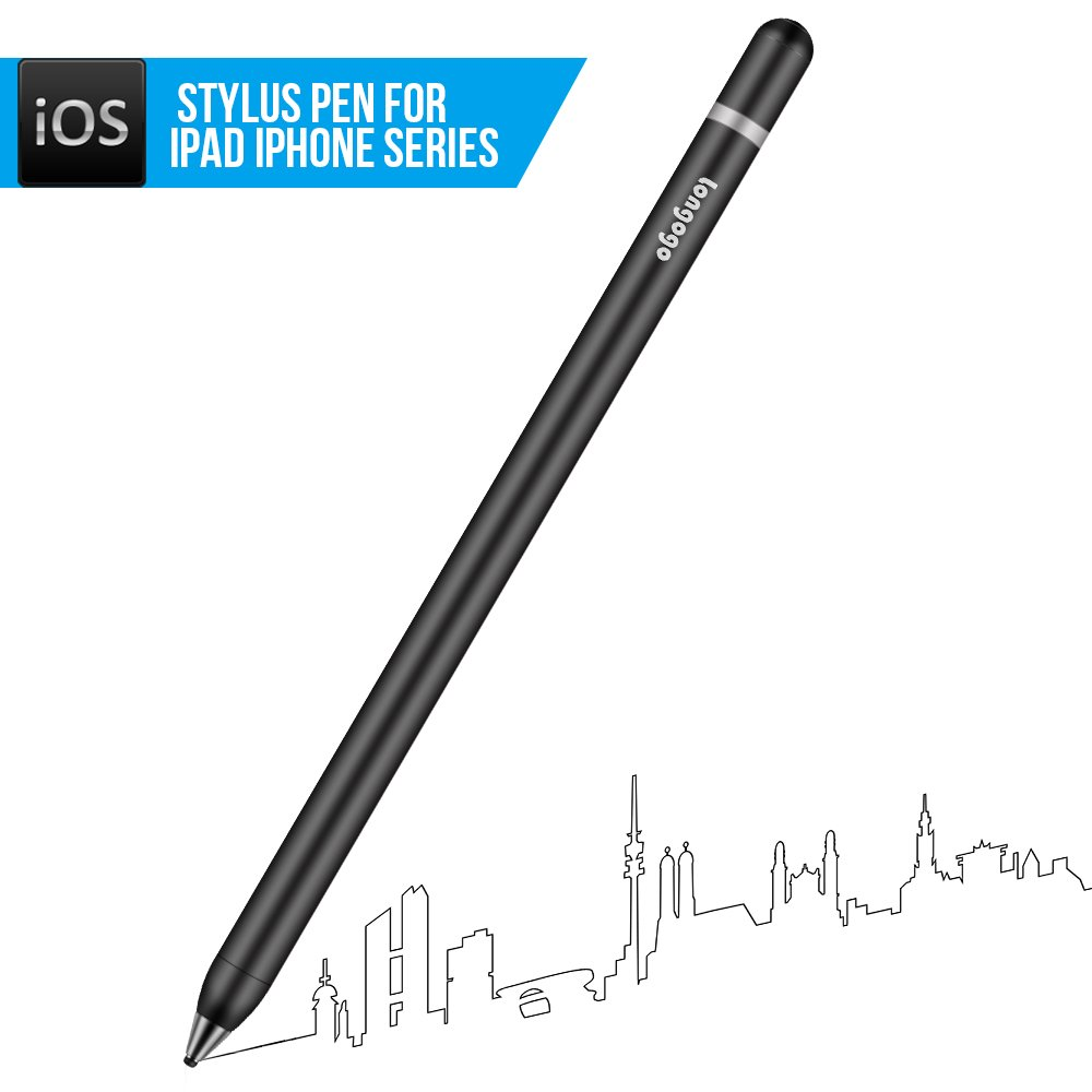 Stylus Pen - Chargeable Capacitive Stylus Pens For Touch Screens, For All iPad, iPad Air, iPad Pro, iPhone Series, 0.08 inch Pen Tip (Black)