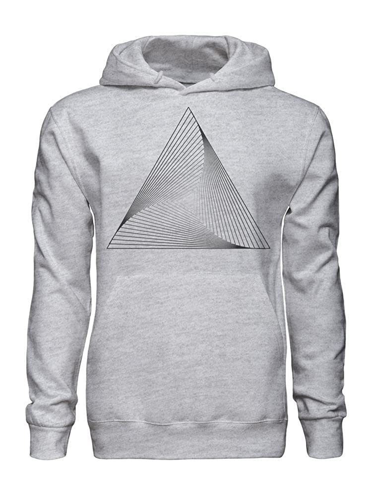 graphke Optical Illusion Grey Triangle Geometry Hipster Mens Hoodie