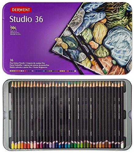 Derwent Studio Colored Pencils, 3.4mm Core, Metal Tin, 36 Count (32198) - Derwent Graphic Pencil Box