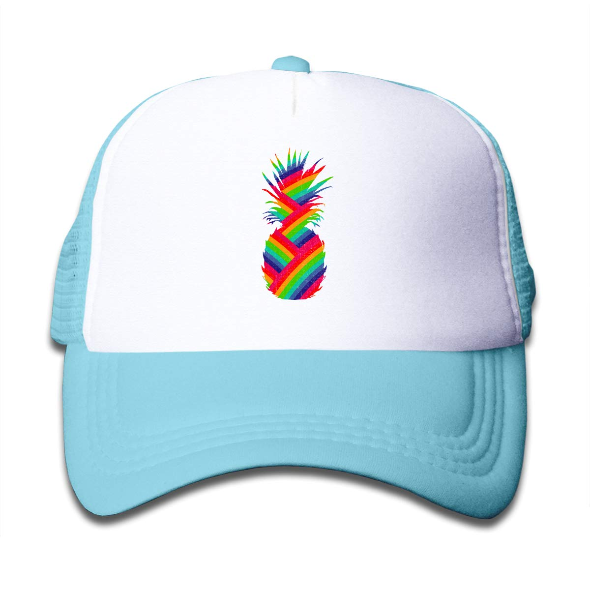 Pineapple Rainbow 1 Kids Trucker Visor Cap Black