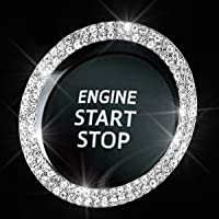 Bling Car Crystal Rhinestone Ring Emblem Sticker, Car Interior Decoration, Bling Car Accessories for Women, Push to…