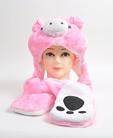 c8d7202ecd9 Amazon.com   Plush Animal Winter Hats with Paws