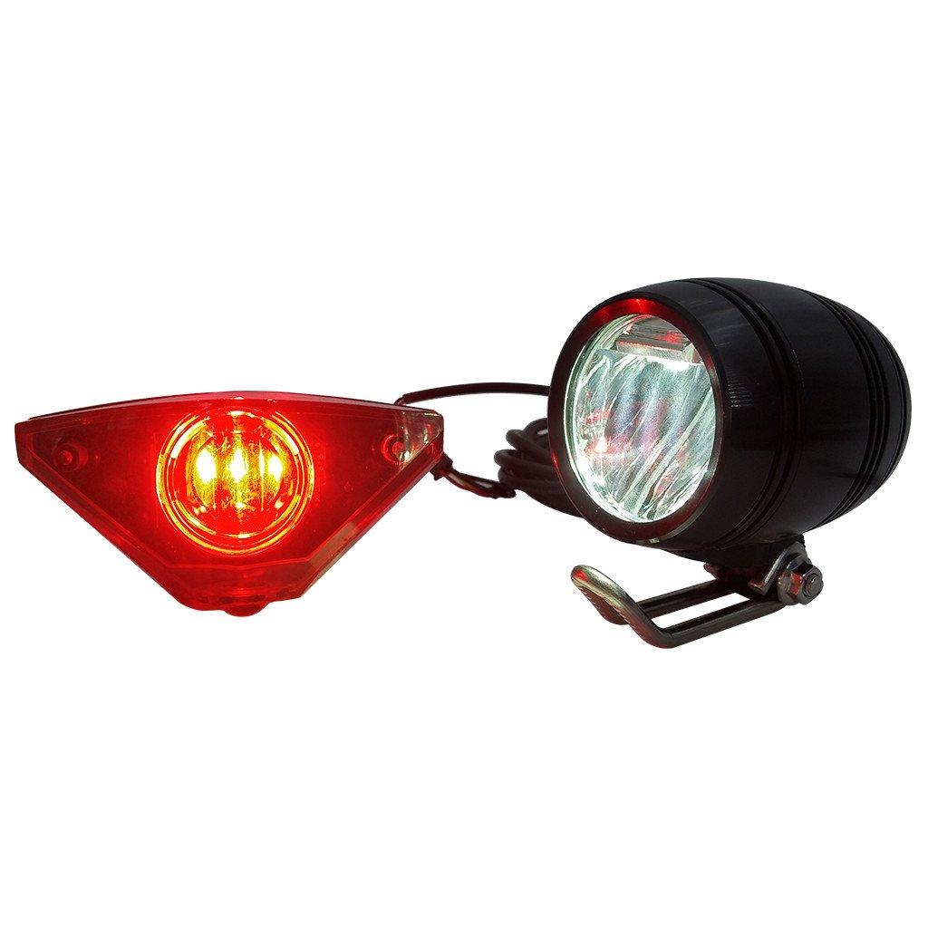ZOOMPOWER 6v - 80v 12v 24v 36v 48v 60v 72v universal e-bike headlight taillight set front light headlamp rear light taillamp bafang 3w