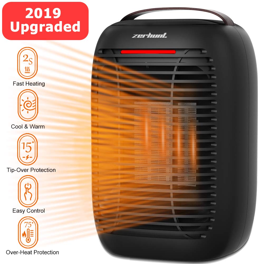 Space Heater, 2019 Upgraded Electric Small Space Heater with Overheat Protection Tip-Over Protection, 750W 950W Portable Electric Space Heater for Office and Home