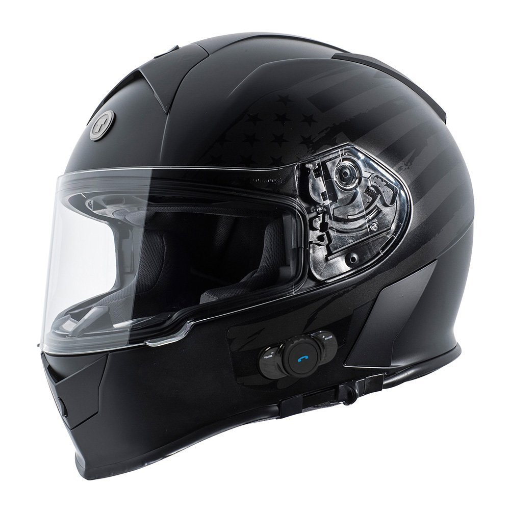 Torc T14B Bluetooth Integrated Mako Full Face Helmet with Flag Graphic (Flat Black, XX-Large)