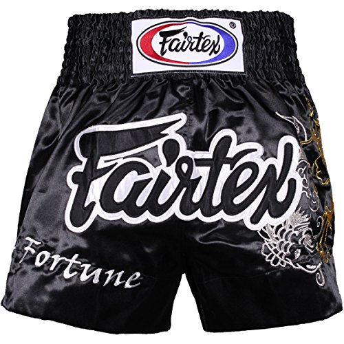 Fairtex Muay Thai Boxing Shorts Red Black White Size S M L XL XXL (3L) (Fortune Black L)