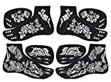 2 Pairs of Foot Indian Painting Tattoo Stencil Self-Adhesive Body Art Designs for Foots - Temporary Indian Arabian Tattoo Reusable Stickers