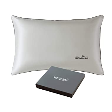 ZIMASILK 100% Mulberry Silk Pillowcase for Hair and Skin,with Hidden Zipper,Both Sides 19 Momme Silk, Silk Bordure Hemming with Embroidered Logo,1pc(Queen 20''x30'', Silver Grey -Gift Box)