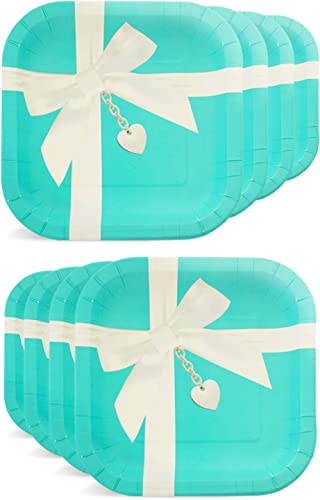 Havercamp Favorite Blue Box Tiffanesque 9 Square Plates 8 Count Great for Kid s Birthday Party, Sweet 16, Girl s Debut, Bridal Shower, Wedding Event, Prom Night