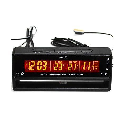 Voltaje Temperatura de Reloj Termómetro Digital Monitor de Batería Medidor Automático Coche - 4