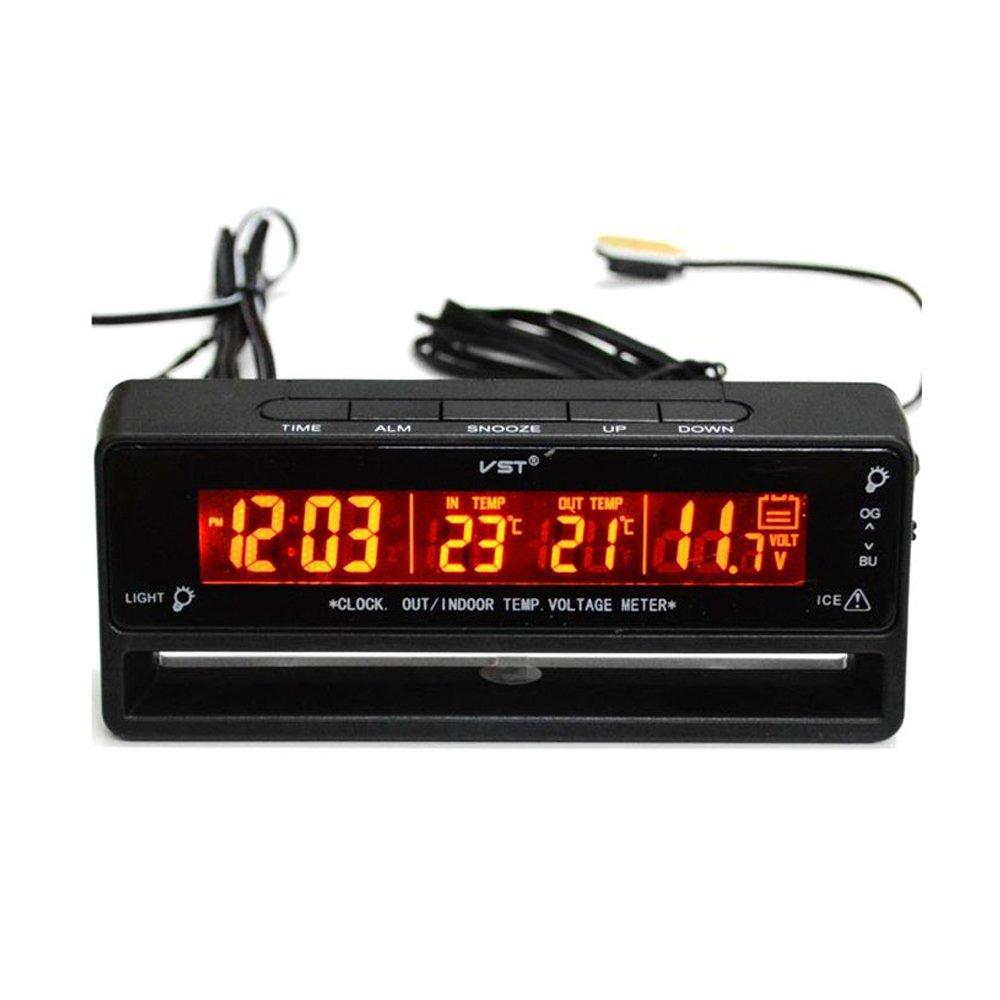Flameer Digital Clock Temperature Meter Thermometer Car Volt Measuring TS-7010V
