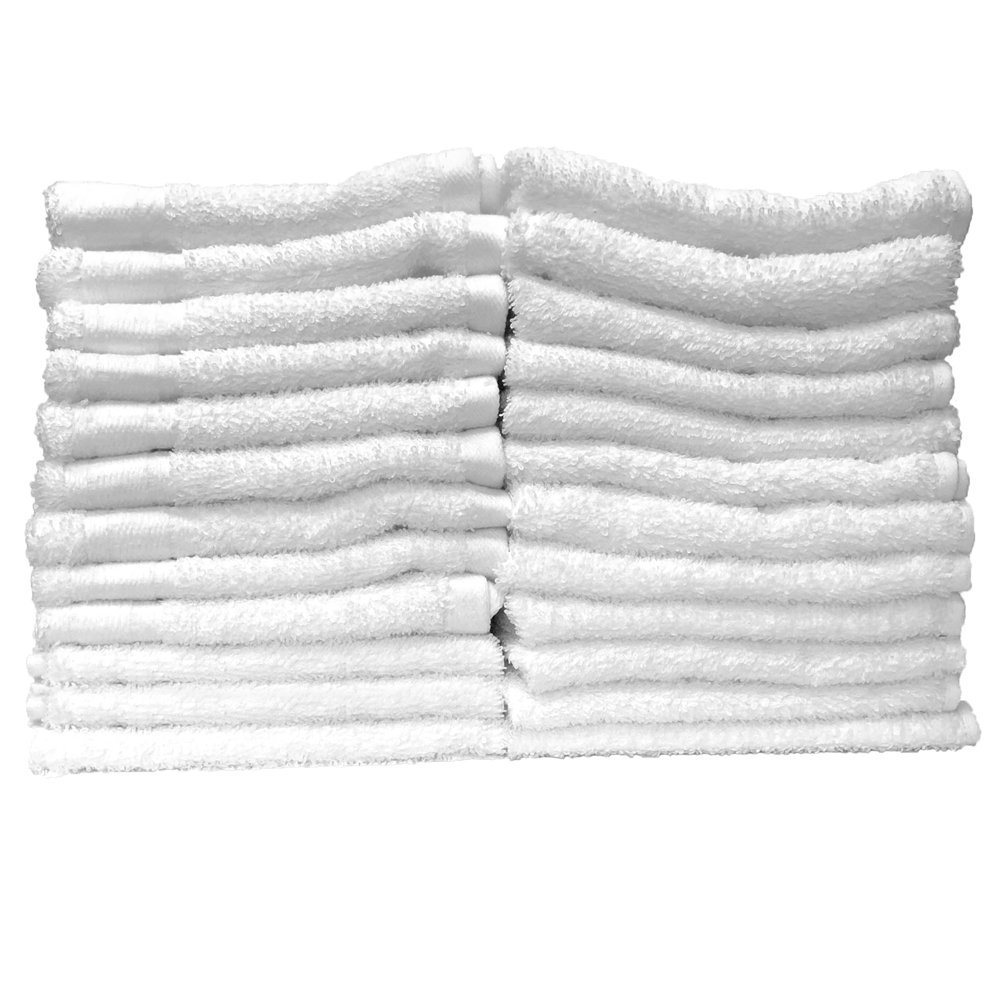 Stephanie Goods White Luxury Cotton Washcloths for Bathroom, Hotel, Spa, Kitchen, Durable, 13'' x 13'', 24 pack