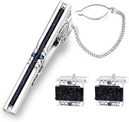 Boutons de manchette bleu fonc/é Strip Galaxy et ensemble de pince /à cravate pour homme Boutons de manchette et pince /à cravate BagTu Shinning Galaxy Stone avec bo/îte-cadeau et carte de voeux