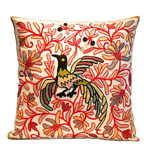 Yumin Embroidery Throw Pillow Case Cotton Cushion Case Square Decorative Cushion Cover 18x18 for SofaBedroomHolidayGiftsHome Decor(Red Phoenix)