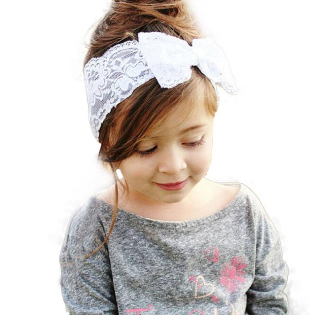 Bandeau Fille, IMJONO Nouveau Mode Filles Dentelle Gros Arc Bande de cheveux Bébé Enveloppement tête Accessoires Blanc) IMJONO-088