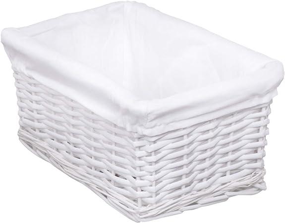 woodluv Elitehousewares Cesto para la Colada con Forro Interior (Mimbre, tamaño pequeño), Color Blanco: Amazon.es: Hogar