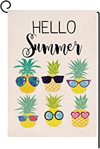 Hello Summer Pineapple with Sunglasses Small Garden Flag Vertical Double Sided Burlap Yard Outdoor Decor 12.5 x 18 Inches (174037)