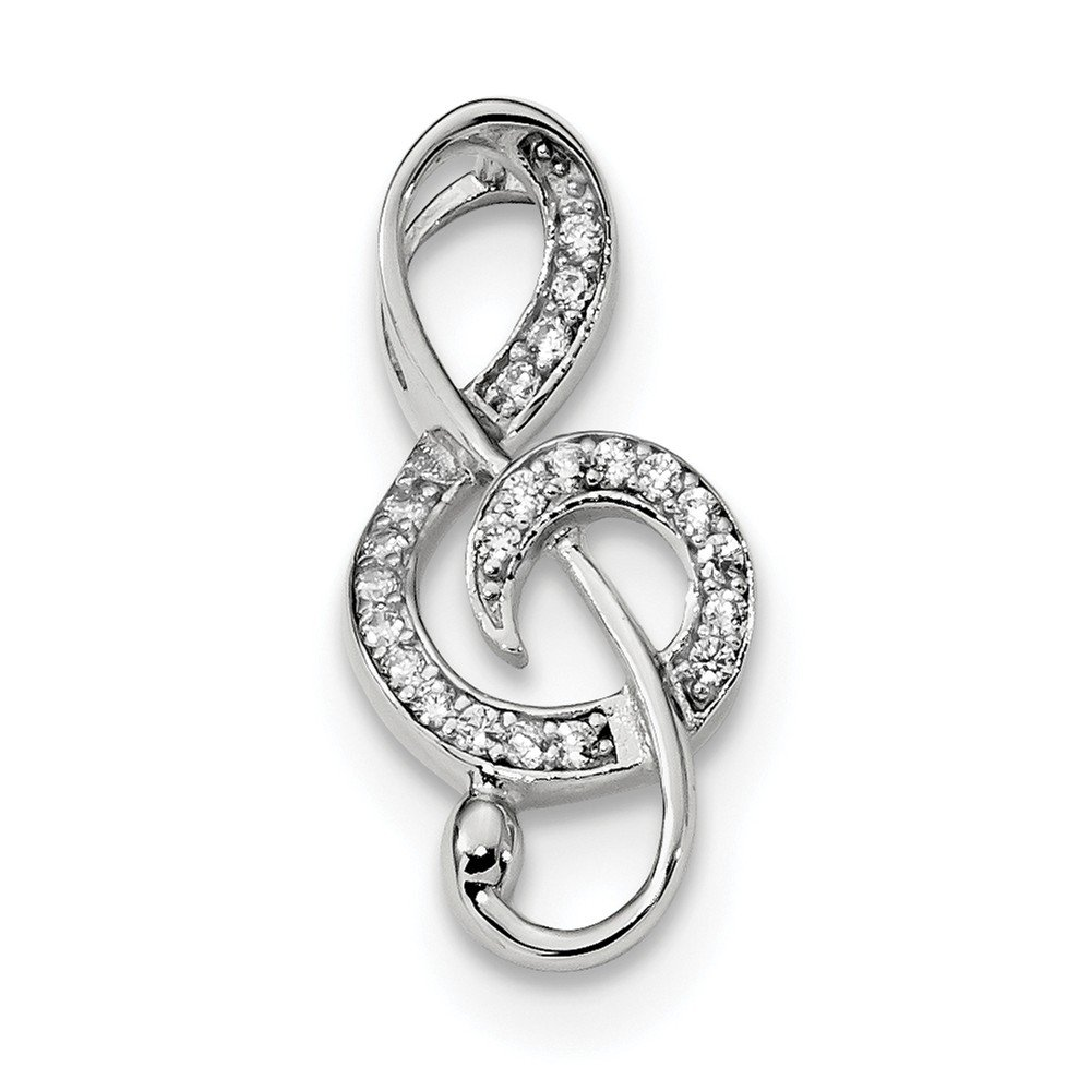Beautiful Sterling silver 925 sterling Sterling Silver Rhodium-plated CZ Treble Clef Slide