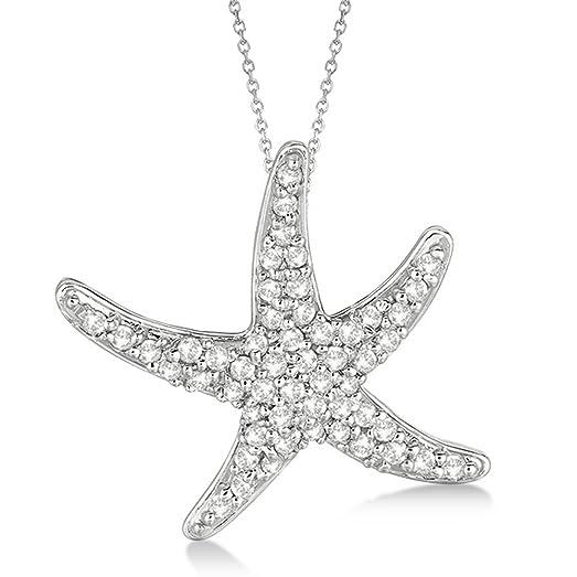 Amazon diamond starfish pendant necklace 14k white gold 055ct diamond starfish pendant necklace 14k white gold 055ct mozeypictures Choice Image