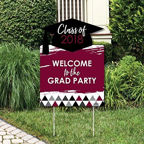 Big Dot of Happiness Maroon Grad - Best is Yet to Come - Party Decorations - Burgundy 2018 Graduation Party Welcome Yard Sign