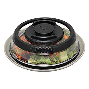 "Mikilon Vacuum Air-tight Food Sealer Container Plate Platter Lid Fresh Cover Topper Dome, Stackable, Dishwasher and BPA Free (7.6"" Bottom & 6"" Top, Black)"