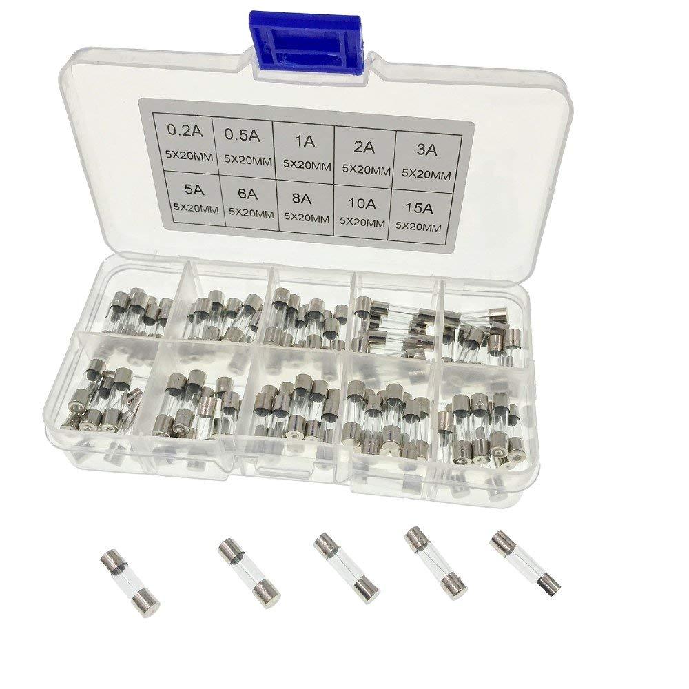 JZK 100 x Ensemble de fusibles en verre à soufflage rapide, 20 x 5mm, kit de fusibles à soufflage rapide avec boîte à fusibles en plastique transparent et valeurs de 10 Amp: 0.2A 0.5A 1A 2A 3A 5A 6A 8