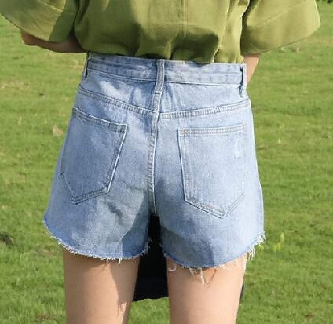 BU2H Women Tassles Baggy High Waisted Bodycon Ripped Holes Fashion Denim Shorts Jeans