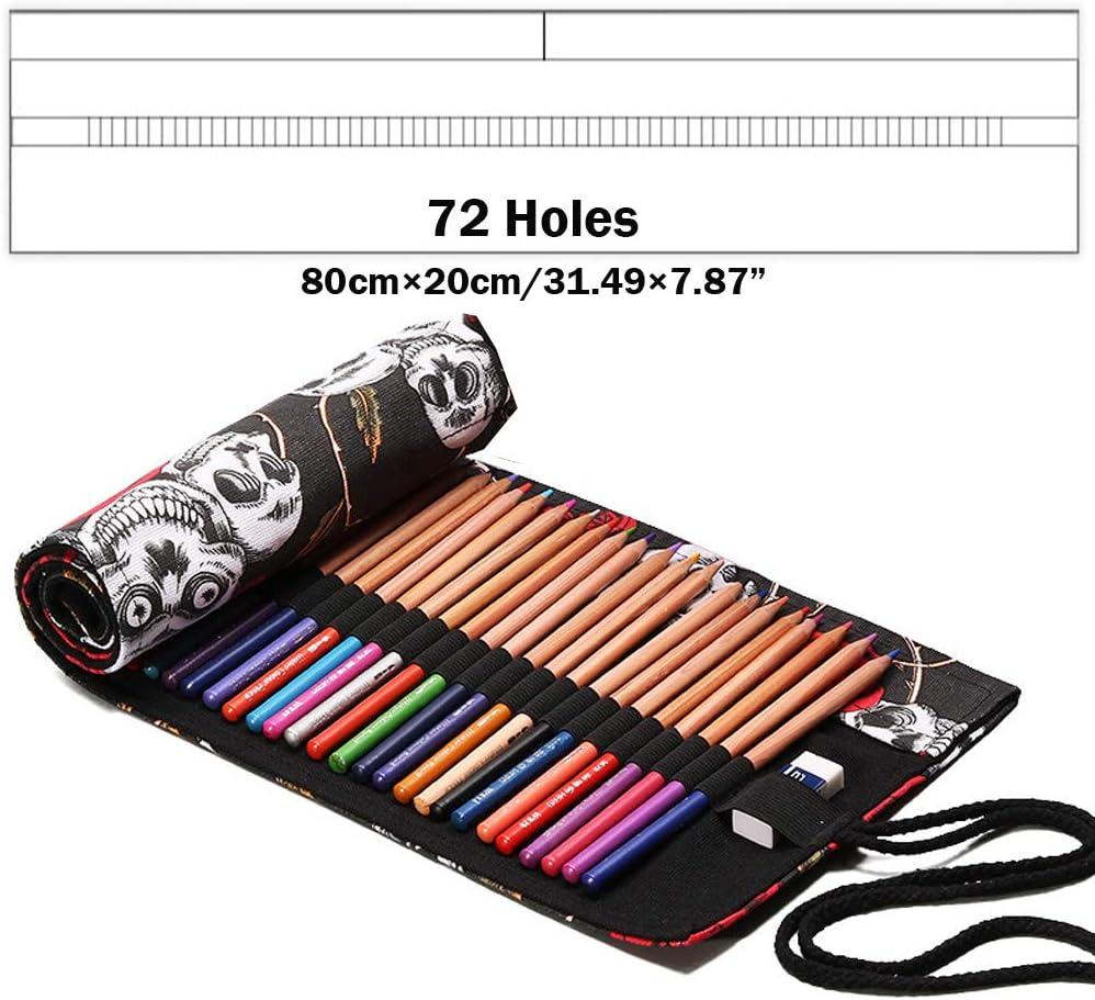 20 agujeros Bolso de pinceles de artista Porta bol/ígrafo enrollable de lona para Acuarela Gouache Acr/ílico Aceite Artista Pincel