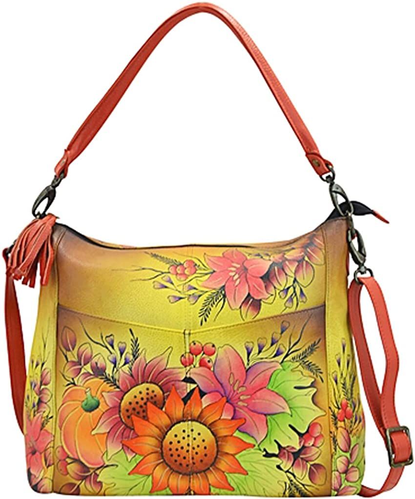 Anna by Anuschka Hobo Handbag Hand Painted Design on Real Leather Top Quality Purse