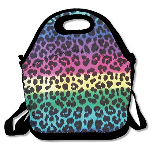 Colorful Cheetah Leopard Lunch Bag Lunch Tote Lunch Box Handbag For Kids And Adults