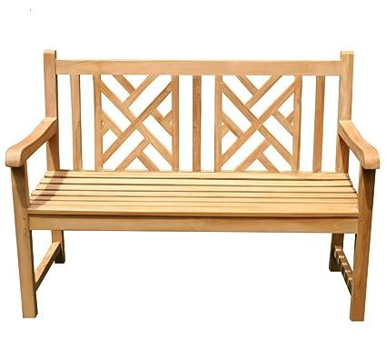 ALA TEAK Teak Wood Bench Stool Outside Patio Garden Bench Seat Chair Fully  Assembled
