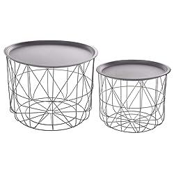 Set di 2 tavolini da caffè impilabili con ripiani amovibili - Design e moderni - Colore: GRIGIO
