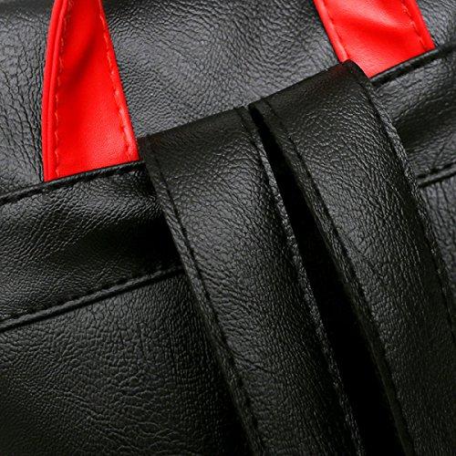 Moda Mujer Bolso De Hombro Simple Cuero De Color Simple Mochila Black