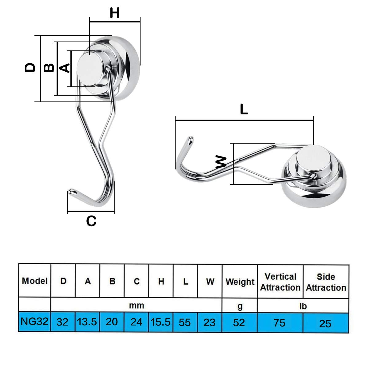 FINDMAG 35LBS Swivel Swing Powerful Magnetic Hooks Strong Heavy Duty Neodymium Magnet Hooks for Kitchen Office and Garage Workplace Pack of 8