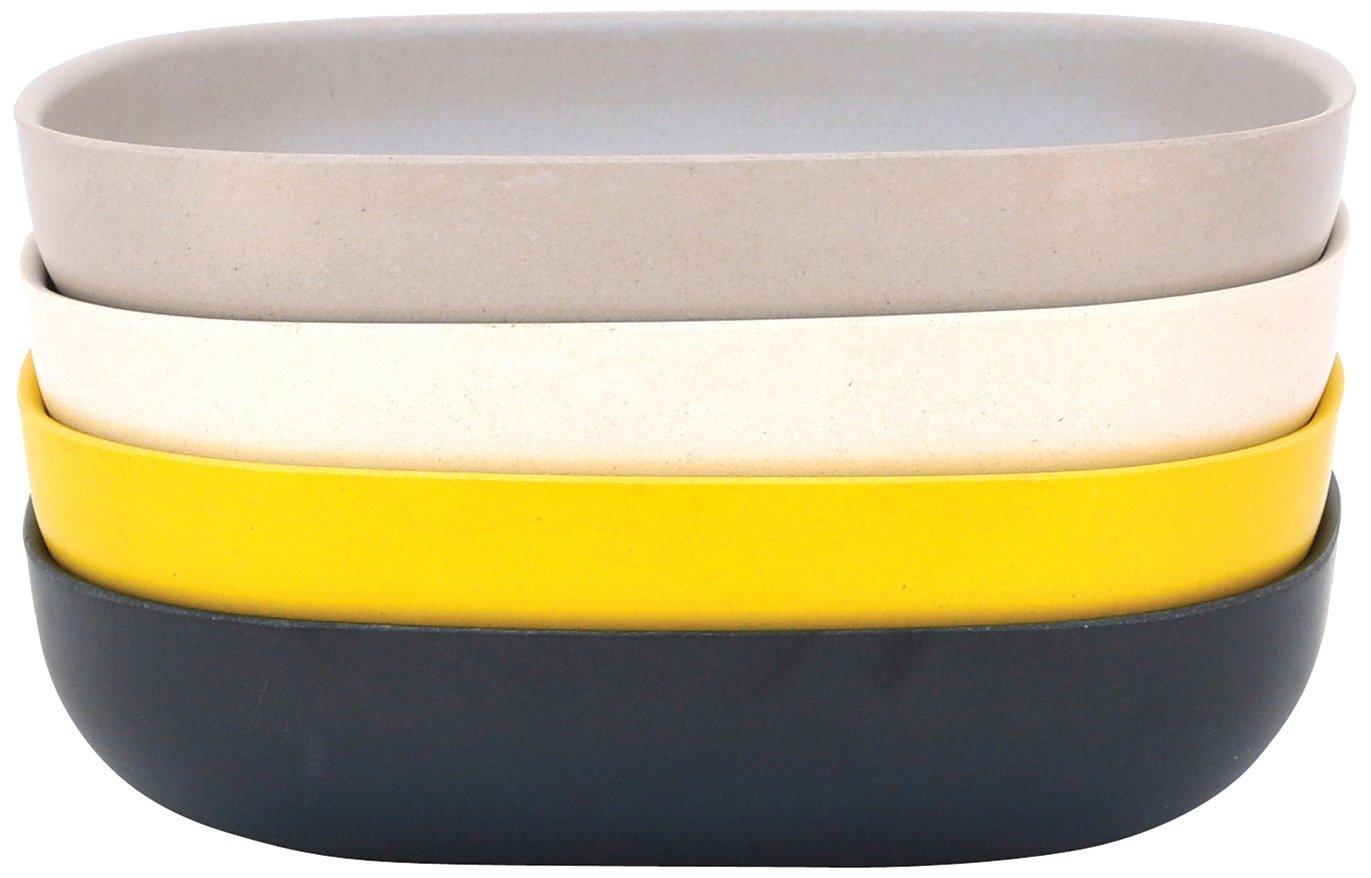 EKOBO Biobu Gusto Pasta/Salad Set in Gift Box, Black/Stone/White/Lemon